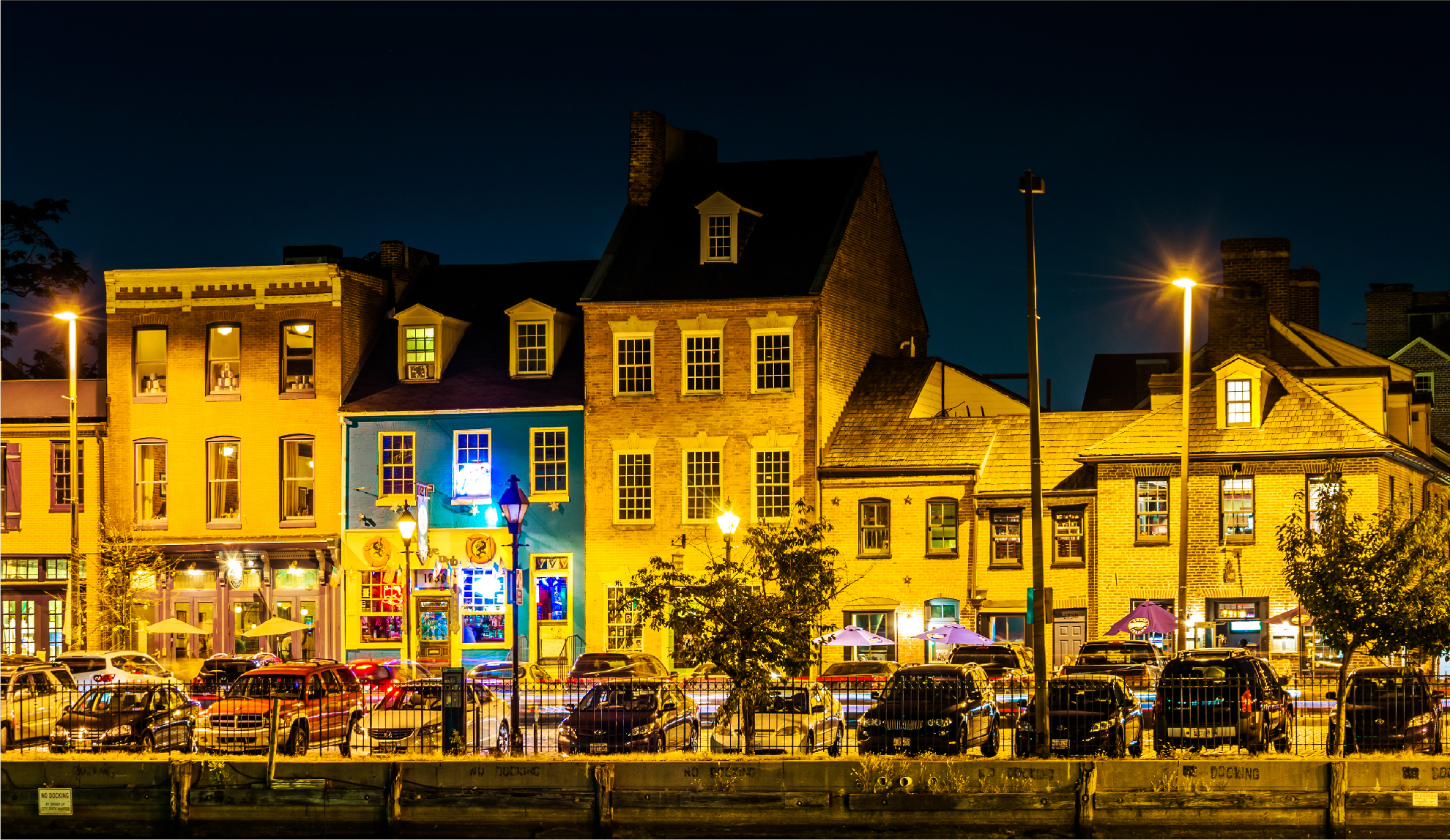 fells point street at night in baltimore